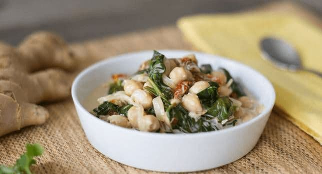 Braised Coconut Spinach and Chickpeas with Lemon Recipe