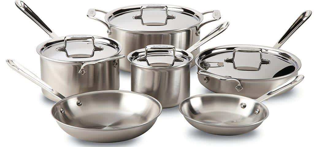 All-Clad BD005710-R D5 Brushed 5-Ply Bonded Cookware Set