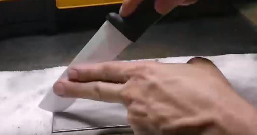using tip of finger to sharpen ceramic knife