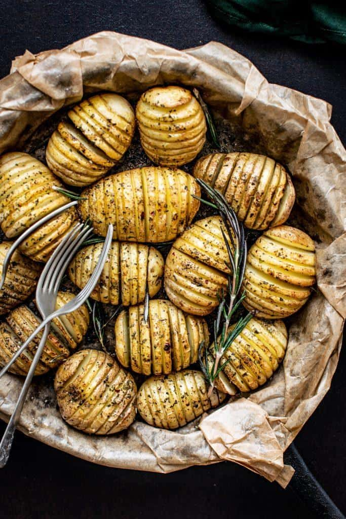 roasted potatoes in a roasting pan